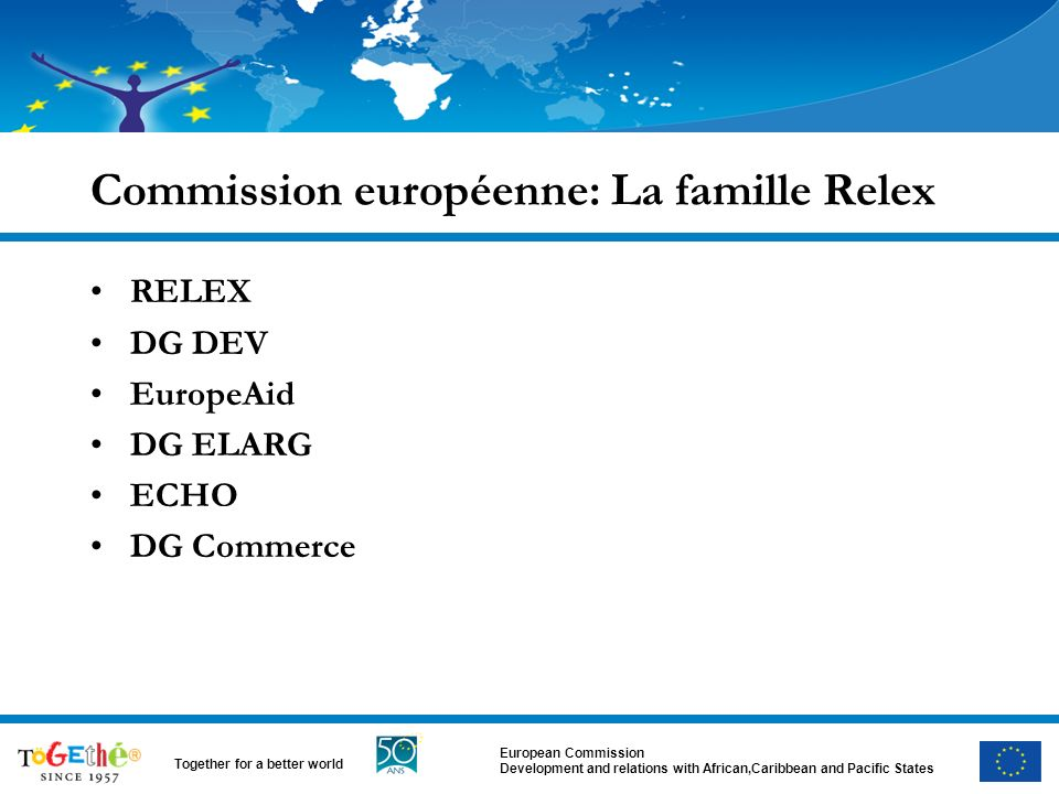 European Commission Development and relations with African,Caribbean and Pacific States Together for a better world Commission européenne: La famille Relex RELEX DG DEV EuropeAid DG ELARG ECHO DG Commerce