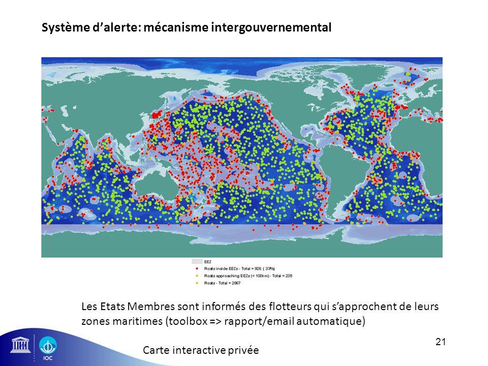 Système dalerte: mécanisme intergouvernemental 21 More than 30% of the Argo array operates in Member States EEZs Les Etats Membres sont informés des f
