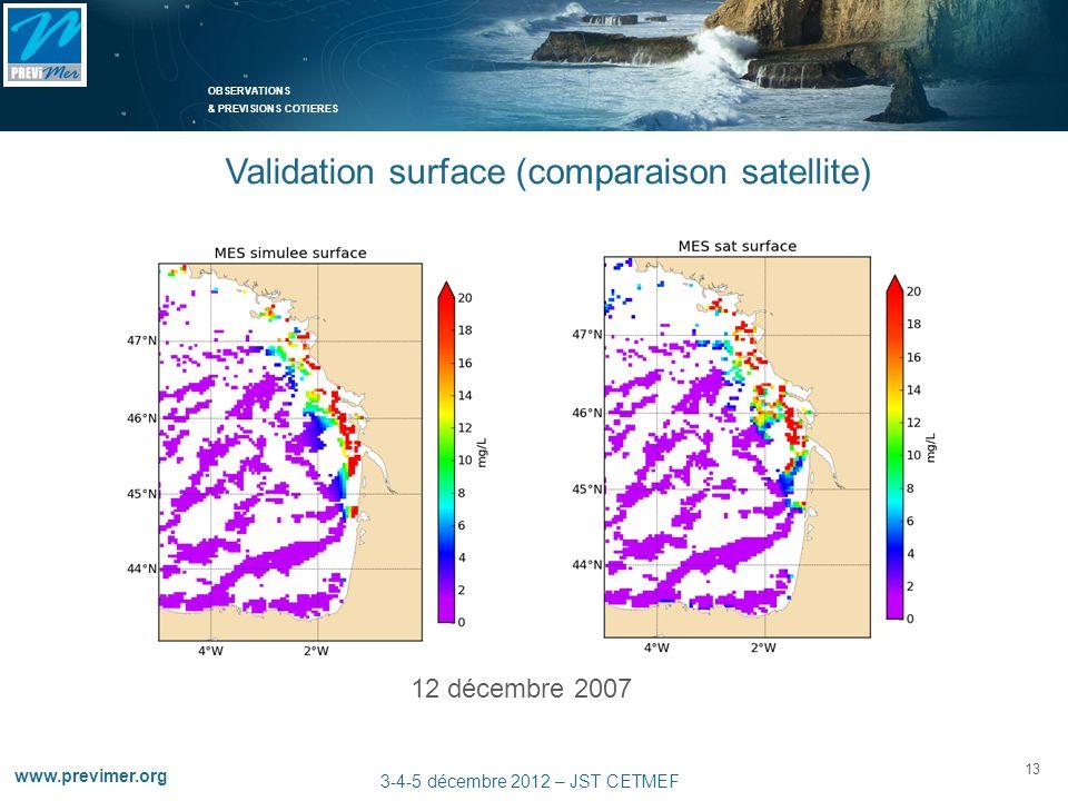 OBSERVATIONS & PREVISIONS COTIERES 13 www.previmer.org 3-4-5 décembre 2012 – JST CETMEF 12 décembre 2007 Validation surface (comparaison satellite)