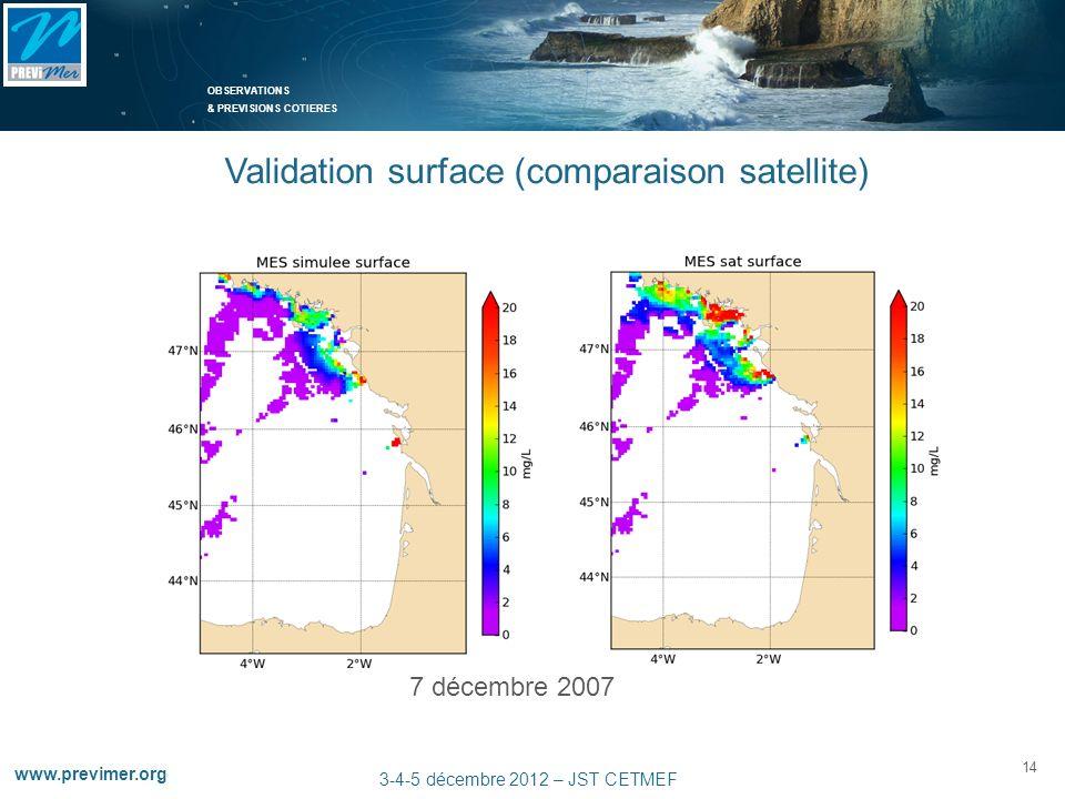 OBSERVATIONS & PREVISIONS COTIERES 14 www.previmer.org 3-4-5 décembre 2012 – JST CETMEF 7 décembre 2007 Validation surface (comparaison satellite)