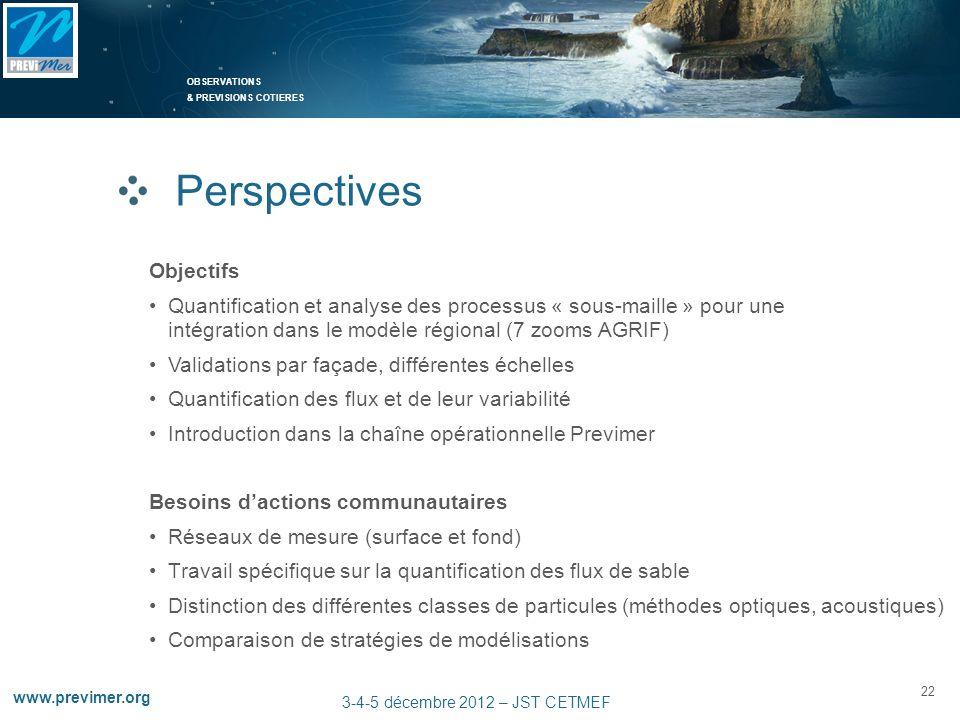 OBSERVATIONS & PREVISIONS COTIERES 22 www.previmer.org 3-4-5 décembre 2012 – JST CETMEF Perspectives Besoins dactions communautaires Réseaux de mesure