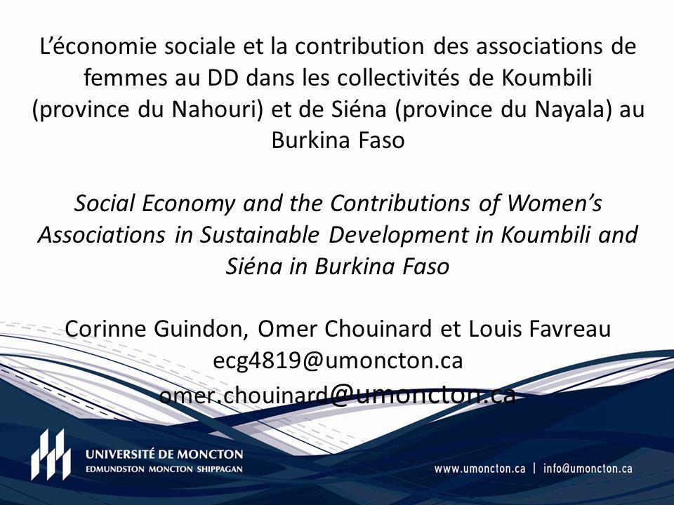 Léconomie sociale et la contribution des associations de femmes au DD dans les collectivités de Koumbili (province du Nahouri) et de Siéna (province d