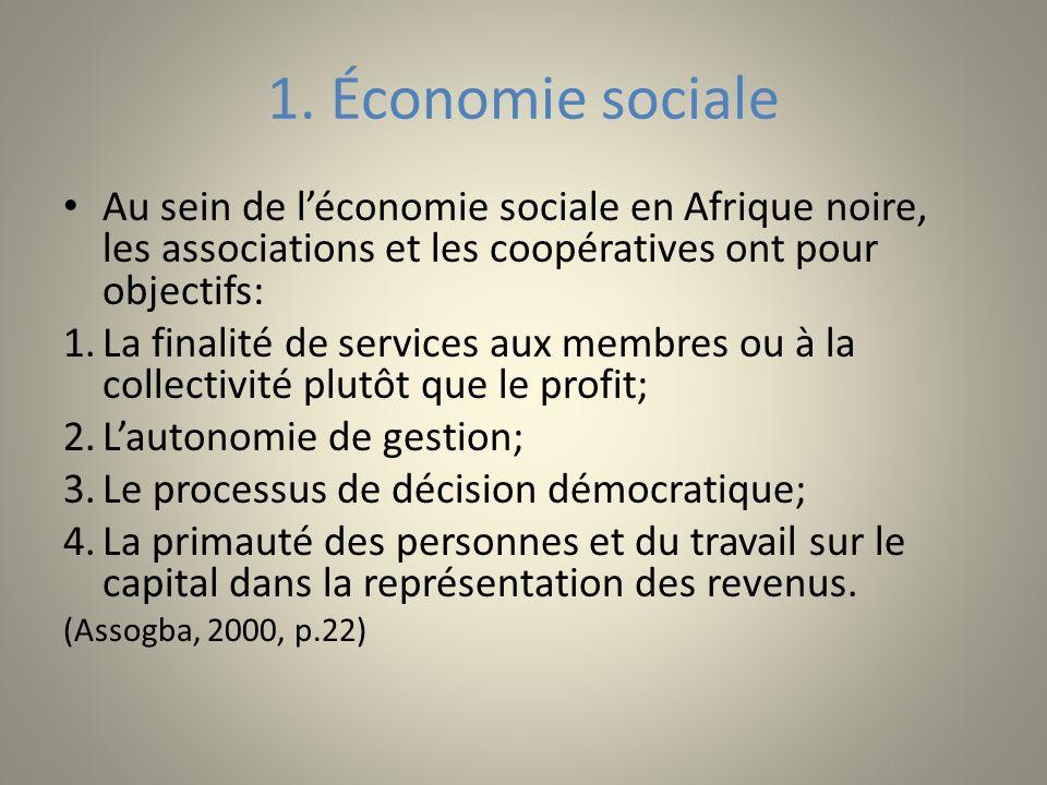 1. Économie sociale Au sein de léconomie sociale en Afrique noire, les associations et les coopératives ont pour objectifs: 1.La finalité de services