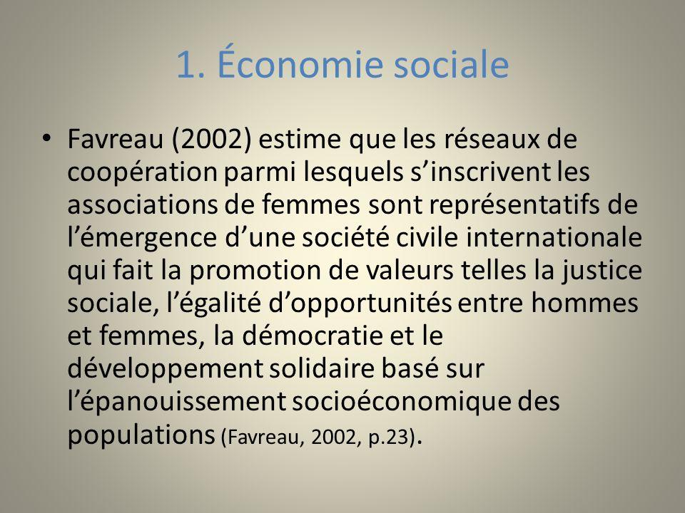 1. Économie sociale Favreau (2002) estime que les réseaux de coopération parmi lesquels sinscrivent les associations de femmes sont représentatifs de