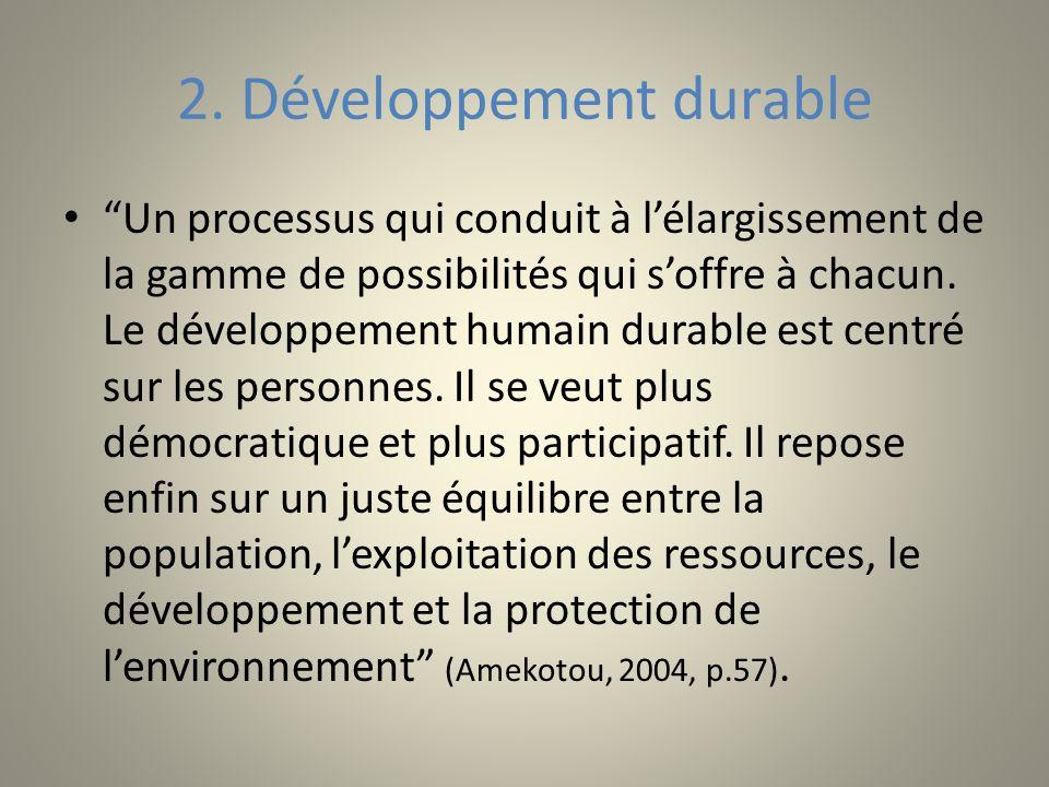 2. Développement durable Un processus qui conduit à lélargissement de la gamme de possibilités qui soffre à chacun. Le développement humain durable es