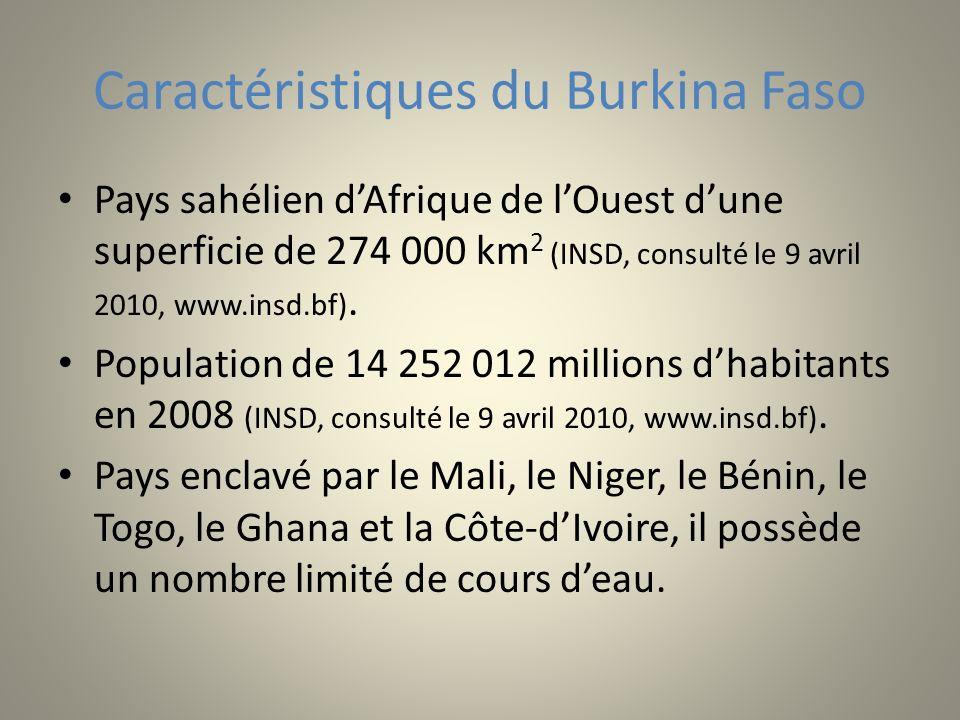 Caractéristiques du Burkina Faso Pays sahélien dAfrique de lOuest dune superficie de 274 000 km 2 (INSD, consulté le 9 avril 2010, www.insd.bf). Popul