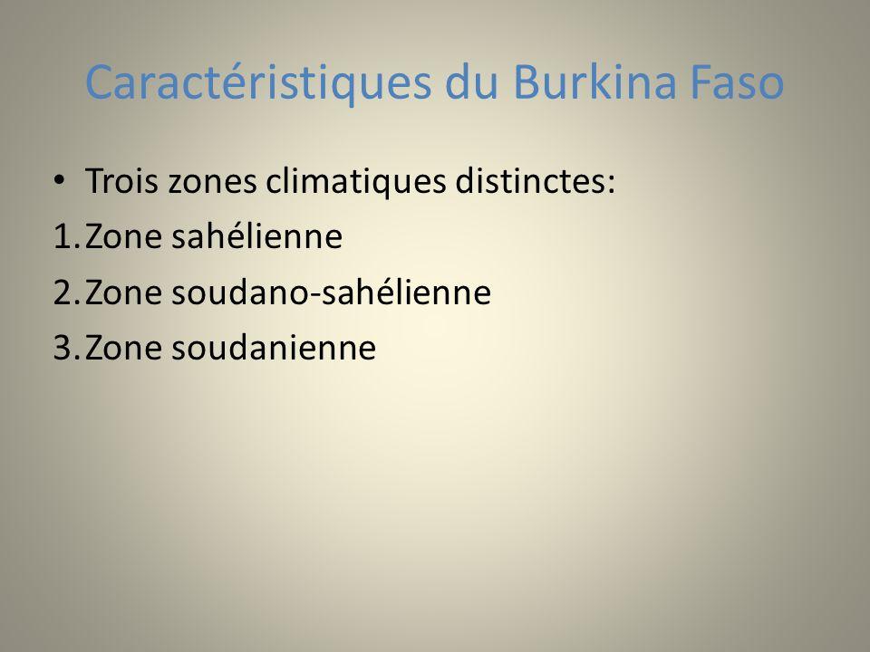 Caractéristiques du Burkina Faso Trois zones climatiques distinctes: 1.Zone sahélienne 2.Zone soudano-sahélienne 3.Zone soudanienne