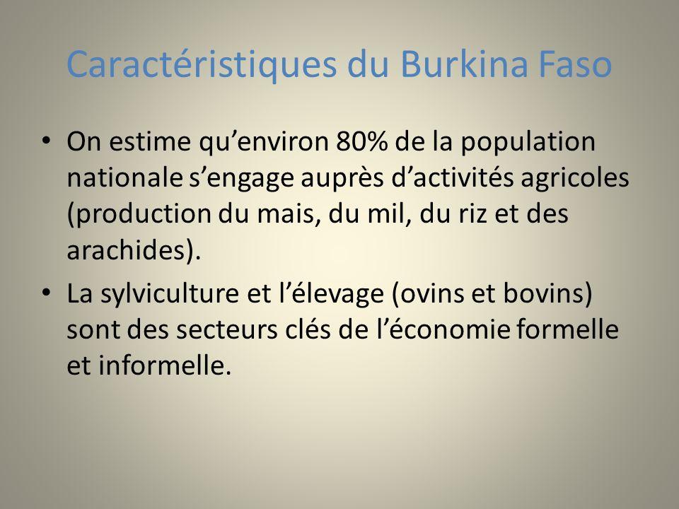 Caractéristiques du Burkina Faso On estime quenviron 80% de la population nationale sengage auprès dactivités agricoles (production du mais, du mil, du riz et des arachides).