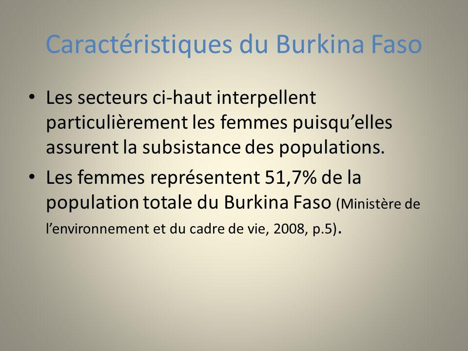 Caractéristiques du Burkina Faso Les secteurs ci-haut interpellent particulièrement les femmes puisquelles assurent la subsistance des populations. Le
