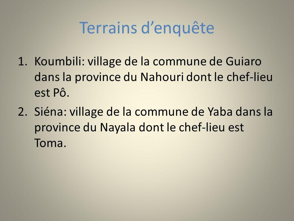 Terrains denquête 1.Koumbili: village de la commune de Guiaro dans la province du Nahouri dont le chef-lieu est Pô. 2.Siéna: village de la commune de