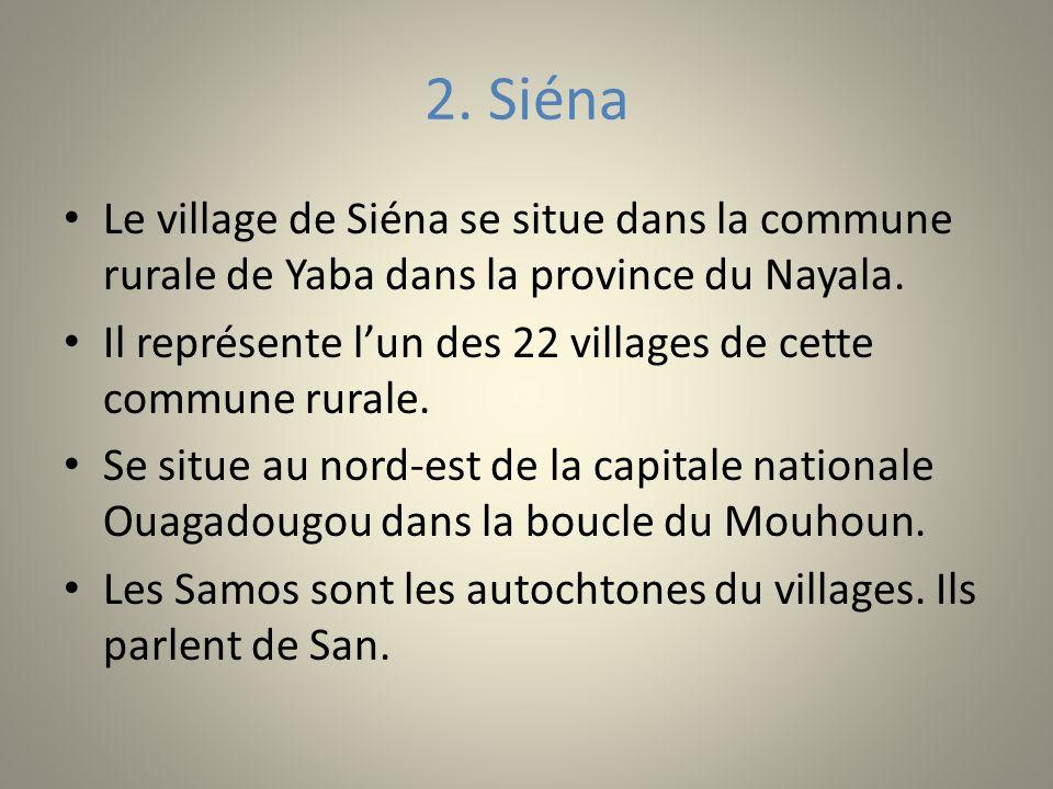 2. Siéna Le village de Siéna se situe dans la commune rurale de Yaba dans la province du Nayala. Il représente lun des 22 villages de cette commune ru