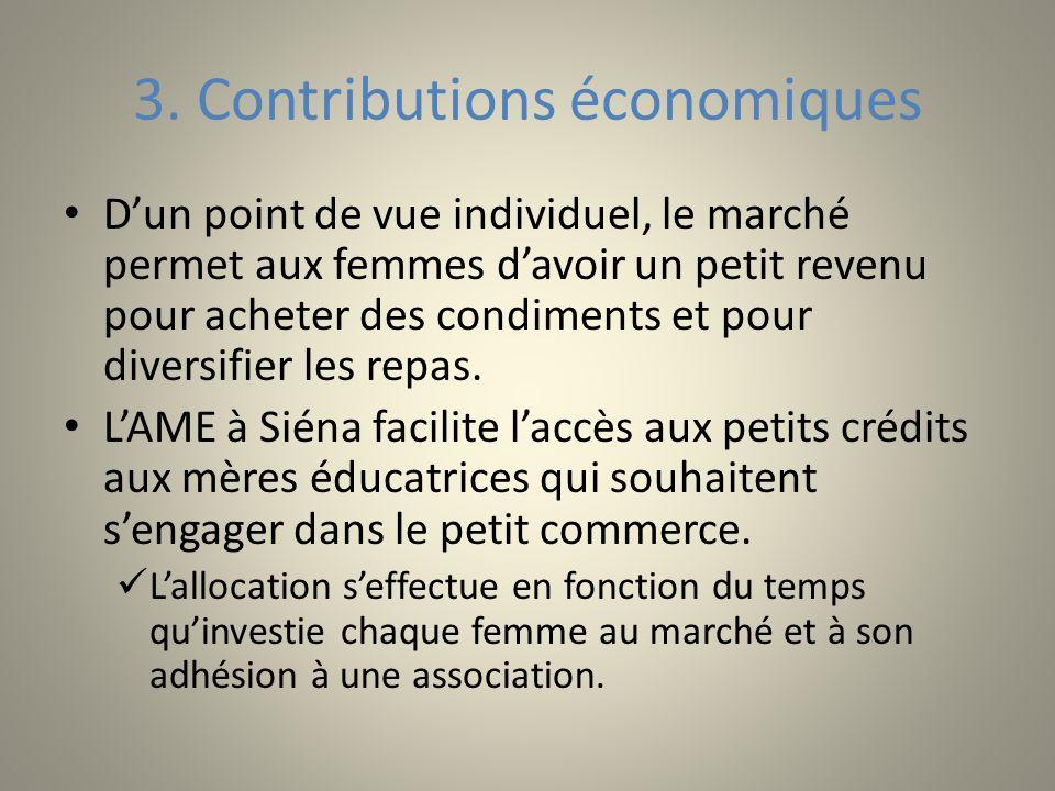 3. Contributions économiques Dun point de vue individuel, le marché permet aux femmes davoir un petit revenu pour acheter des condiments et pour diver