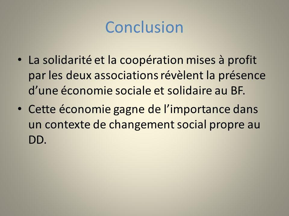 Conclusion La solidarité et la coopération mises à profit par les deux associations révèlent la présence dune économie sociale et solidaire au BF. Cet