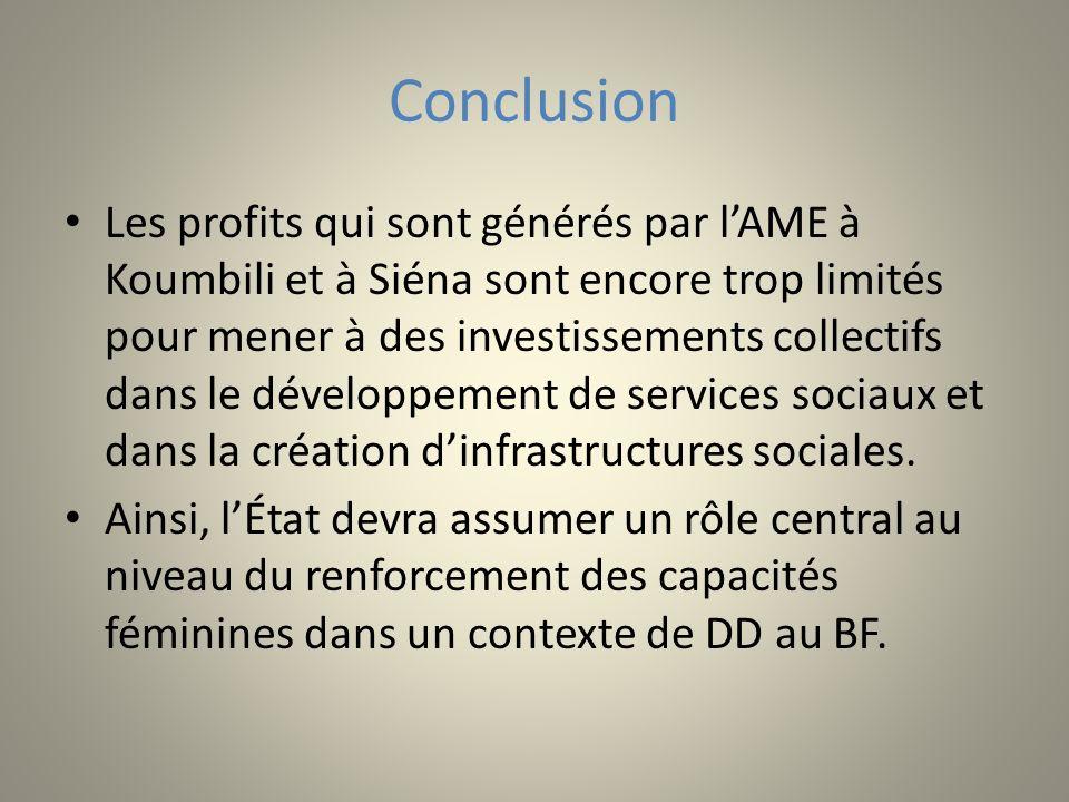 Conclusion Les profits qui sont générés par lAME à Koumbili et à Siéna sont encore trop limités pour mener à des investissements collectifs dans le dé