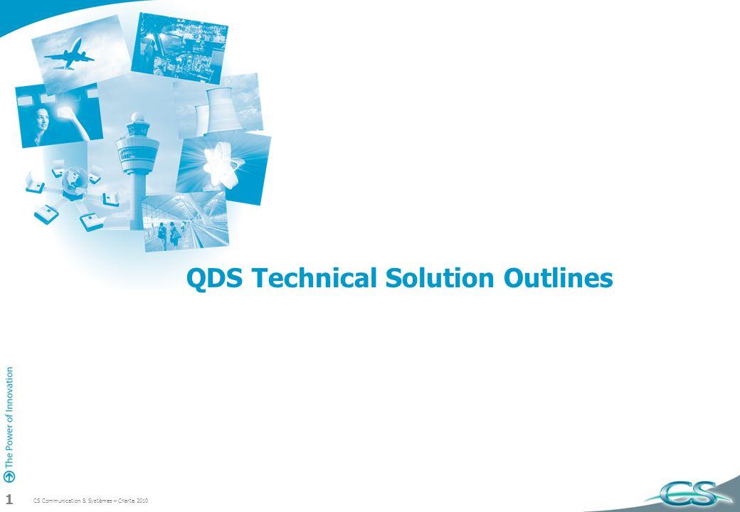 CS Communication & Systèmes – Charte 2010 2 Agenda vs QDS QDS architecture ( HW, SW)15mn QDS development60mn liées au contexte de développement QDS advaantages 60mn Conclusion15mn
