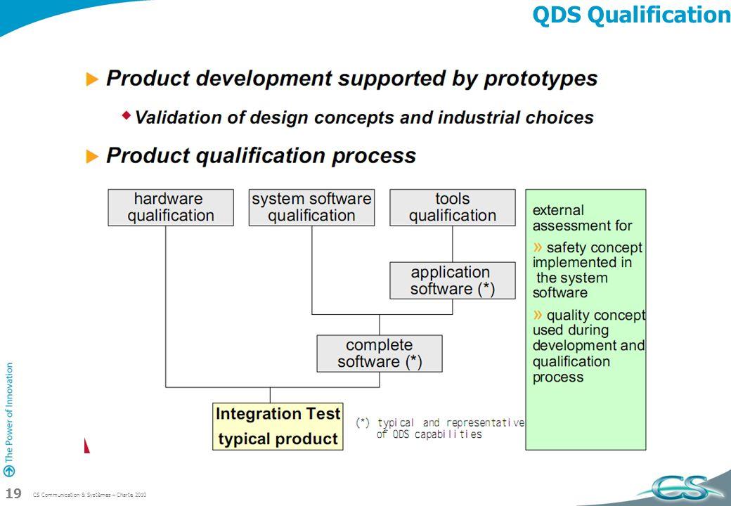 CS Communication & Systèmes – Charte 2010 19 QDS Qualification