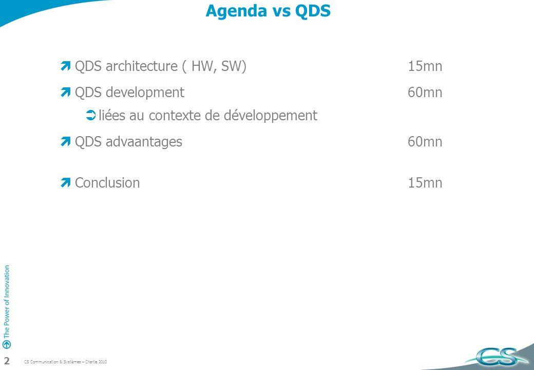 CS Communication & Systèmes – Charte 2010 2 Agenda vs QDS QDS architecture ( HW, SW)15mn QDS development60mn liées au contexte de développement QDS ad