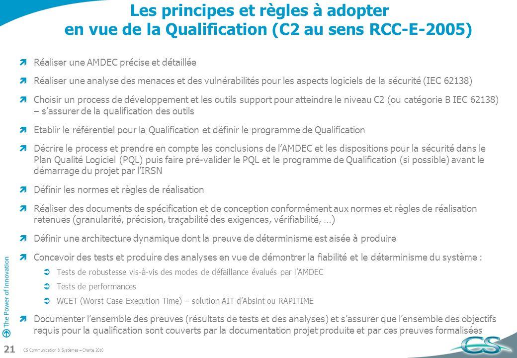 CS Communication & Systèmes – Charte 2010 21 Les principes et règles à adopter en vue de la Qualification (C2 au sens RCC-E-2005) Réaliser une AMDEC p