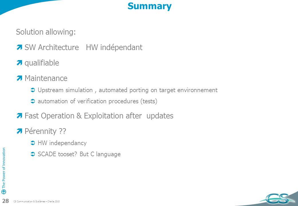 CS Communication & Systèmes – Charte 2010 28 Summary Solution allowing: SW Architecture HW indépendant qualifiable Maintenance Upstream simulation, au