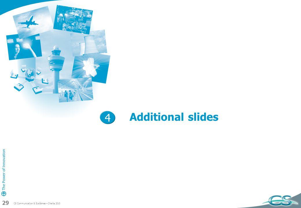 CS Communication & Systèmes – Charte 2010 29 Additional slides 4