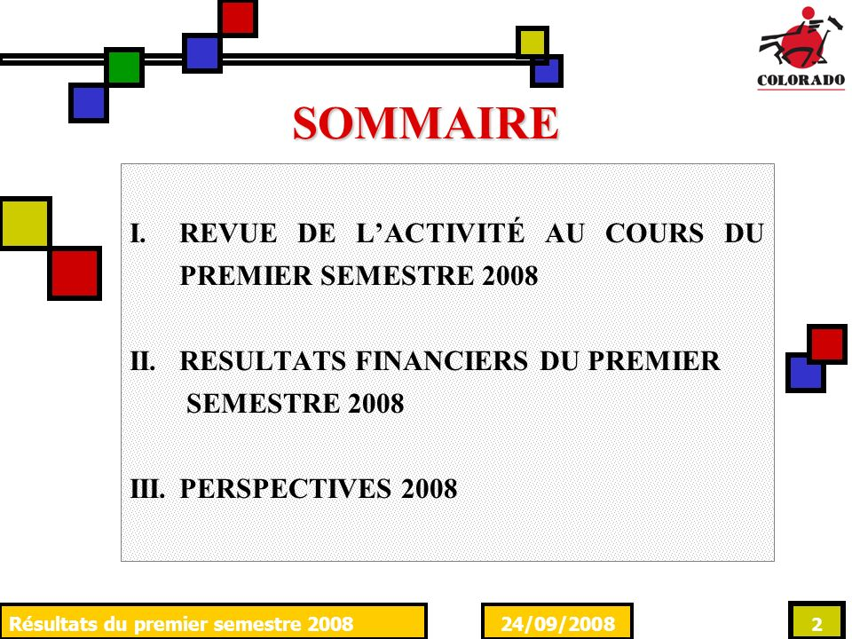 24/09/2008Résultats du premier semestre 2008 2 SOMMAIRE I.REVUE DE LACTIVITÉ AU COURS DU PREMIER SEMESTRE 2008 II.RESULTATS FINANCIERS DU PREMIER SEMESTRE 2008 III.PERSPECTIVES 2008