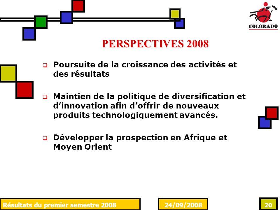 24/09/2008Résultats du premier semestre 2008 20 PERSPECTIVES 2008 Poursuite de la croissance des activités et des résultats Maintien de la politique de diversification et dinnovation afin doffrir de nouveaux produits technologiquement avancés.
