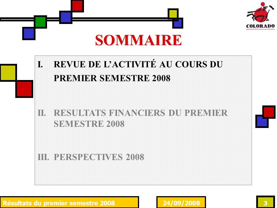 24/09/2008Résultats du premier semestre 2008 3 SOMMAIRE I.REVUE DE LACTIVITÉ AU COURS DU PREMIER SEMESTRE 2008 II.RESULTATS FINANCIERS DU PREMIER SEME