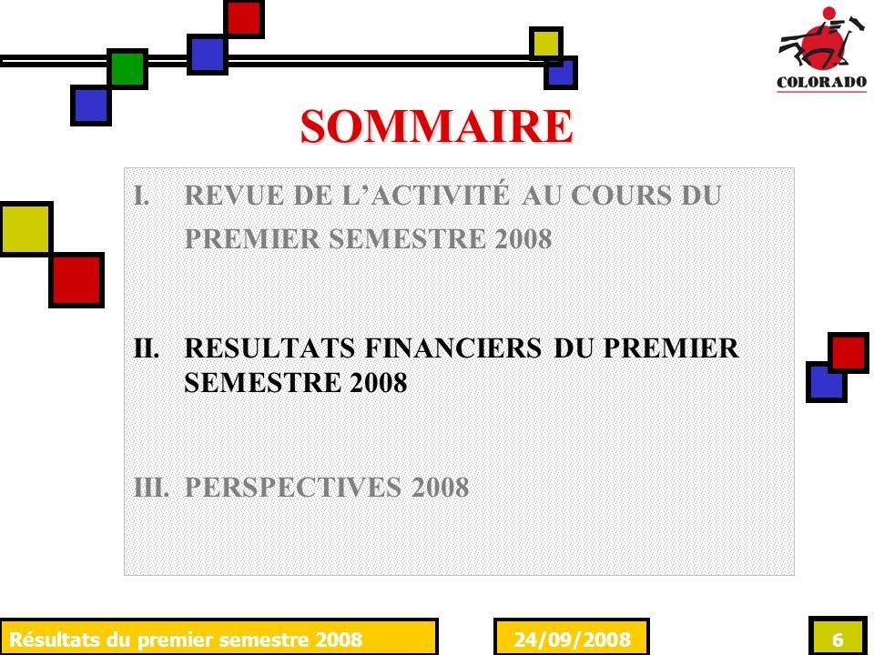 24/09/2008Résultats du premier semestre 2008 6 SOMMAIRE I.REVUE DE LACTIVITÉ AU COURS DU PREMIER SEMESTRE 2008 II.RESULTATS FINANCIERS DU PREMIER SEME