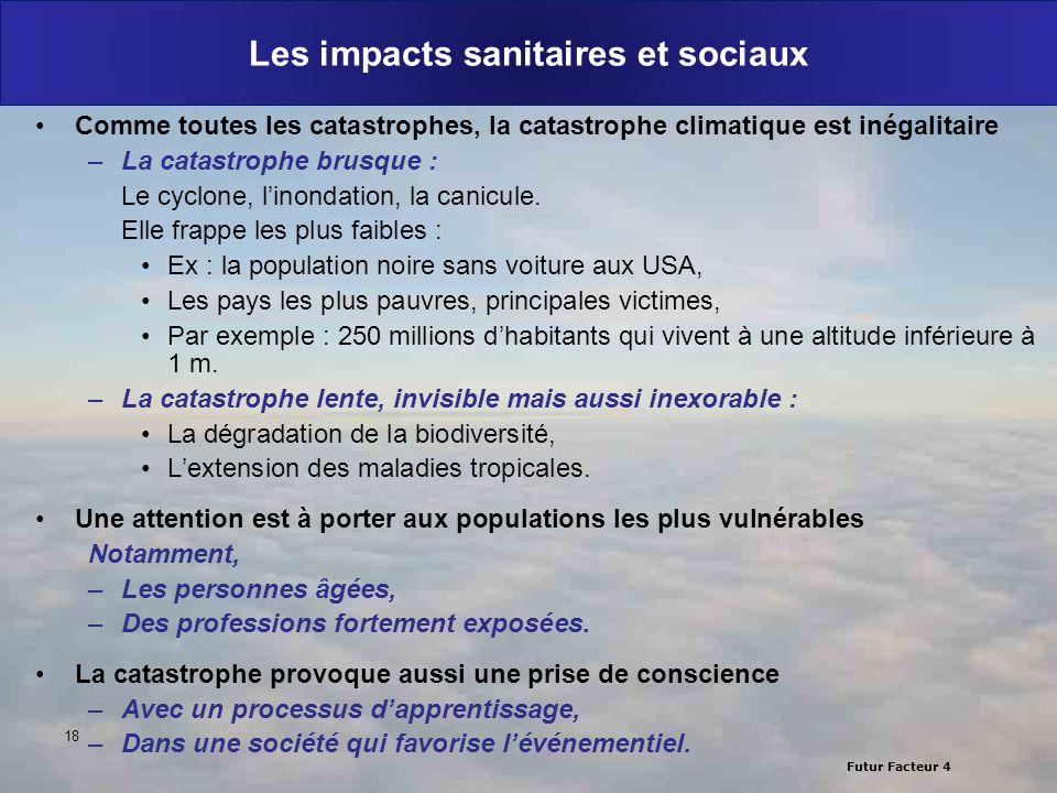 Futur Facteur 4 Les impacts sanitaires et sociaux Comme toutes les catastrophes, la catastrophe climatique est inégalitaire –La catastrophe brusque :