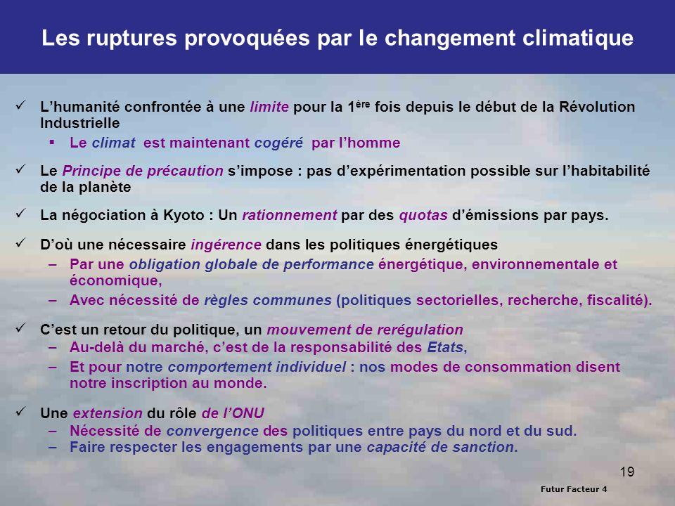 Futur Facteur 4 19 Les ruptures provoquées par le changement climatique Lhumanité confrontée à une limite pour la 1 ère fois depuis le début de la Rév