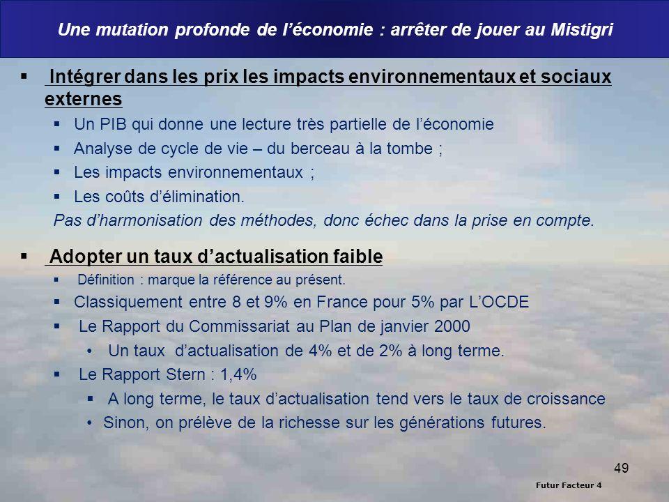 Futur Facteur 4 Une mutation profonde de léconomie : arrêter de jouer au Mistigri Intégrer dans les prix les impacts environnementaux et sociaux exter