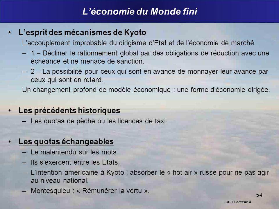 Futur Facteur 4 Léconomie du Monde fini Lesprit des mécanismes de Kyoto Laccouplement improbable du dirigisme dEtat et de léconomie de marché rationne
