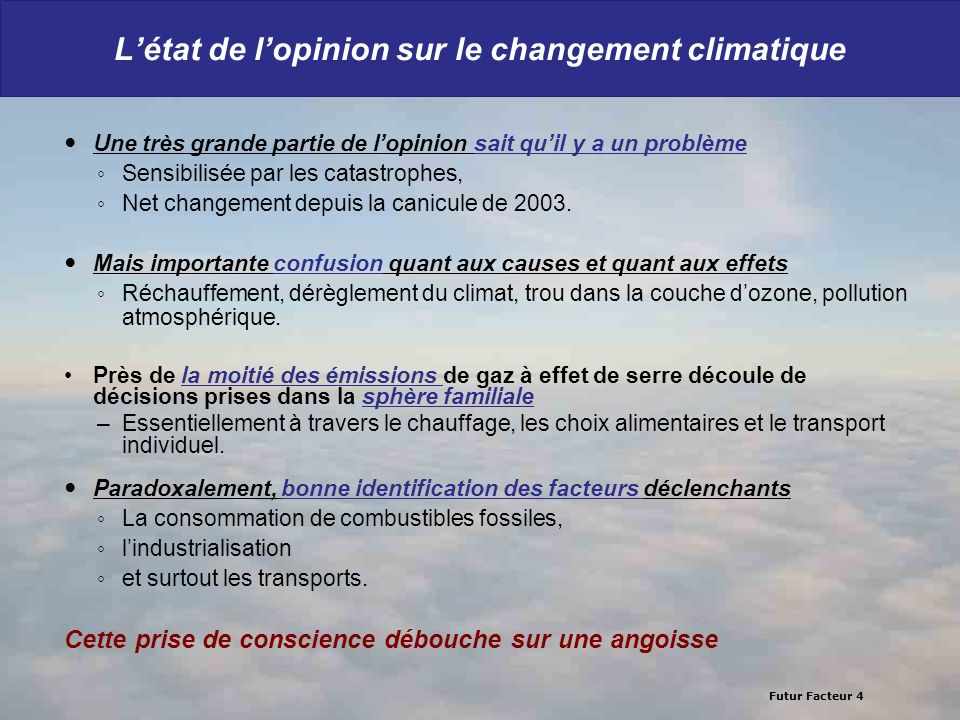 Futur Facteur 4 Létat de lopinion sur le changement climatique Une très grande partie de lopinion sait quil y a un problème Sensibilisée par les catas
