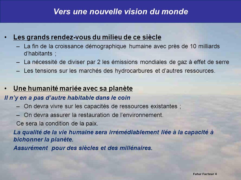 Futur Facteur 4 Vers une nouvelle vision du monde Les grands rendez-vous du milieu de ce siècle –La fin de la croissance démographique humaine avec pr