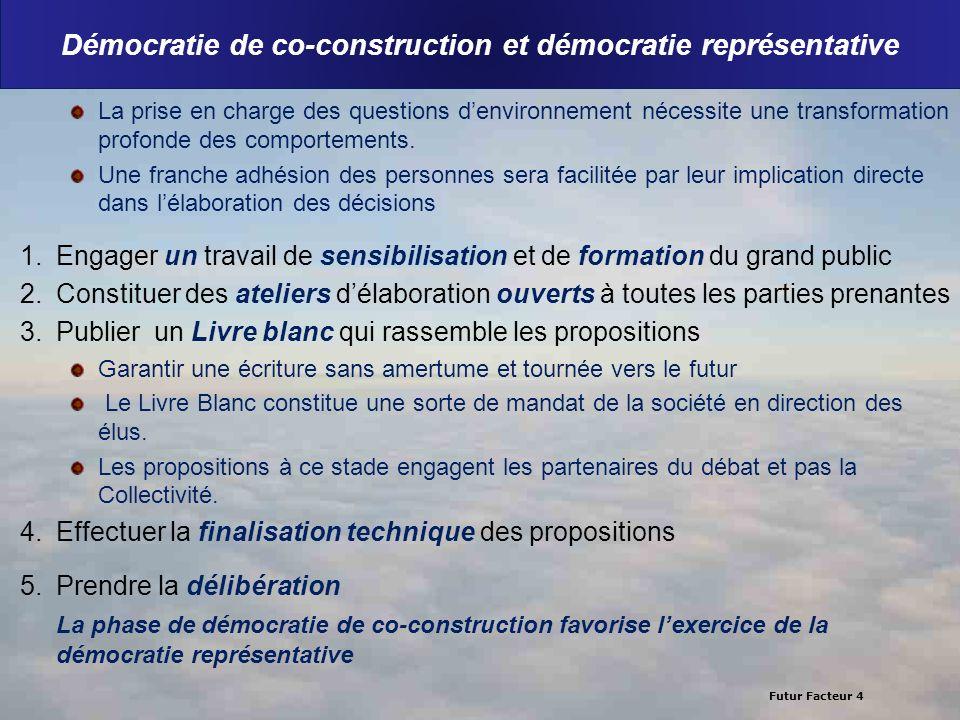 Futur Facteur 4 Démocratie de co-construction et démocratie représentative La prise en charge des questions denvironnement nécessite une transformatio