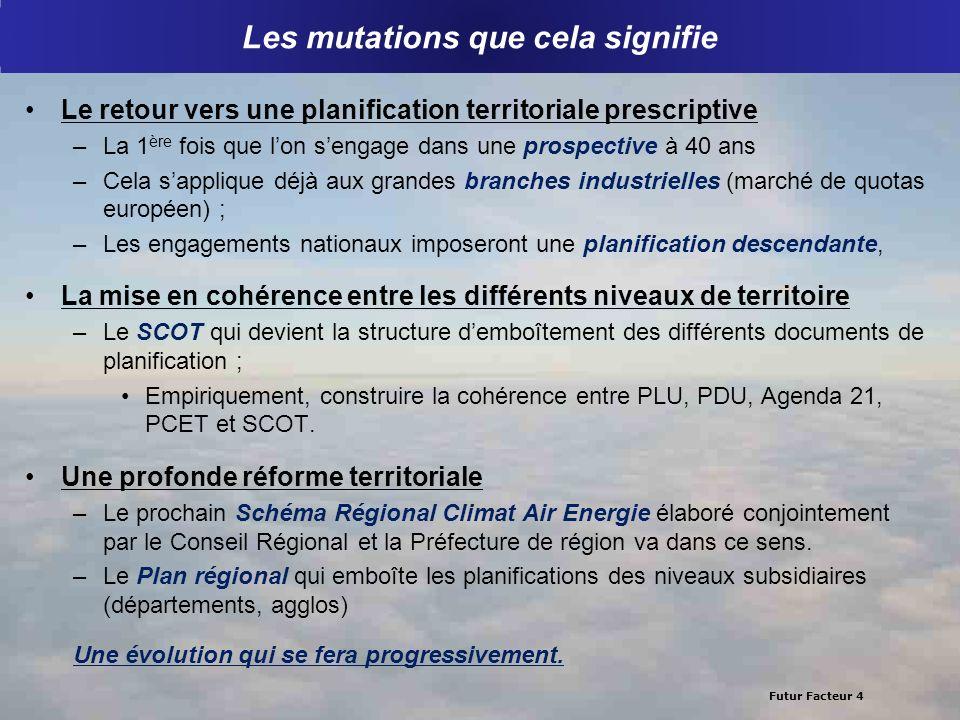 Futur Facteur 4 Les mutations que cela signifie Le retour vers une planification territoriale prescriptive –La 1 ère fois que lon sengage dans une pro