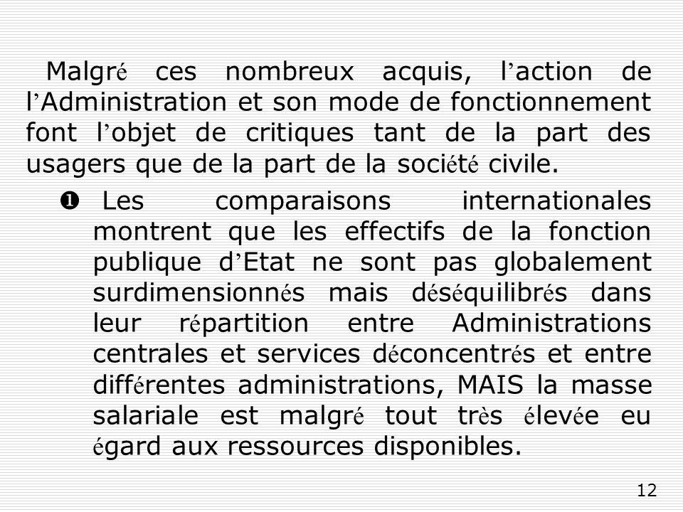 12 Malgr é ces nombreux acquis, l action de l Administration et son mode de fonctionnement font l objet de critiques tant de la part des usagers que de la part de la soci é t é civile.