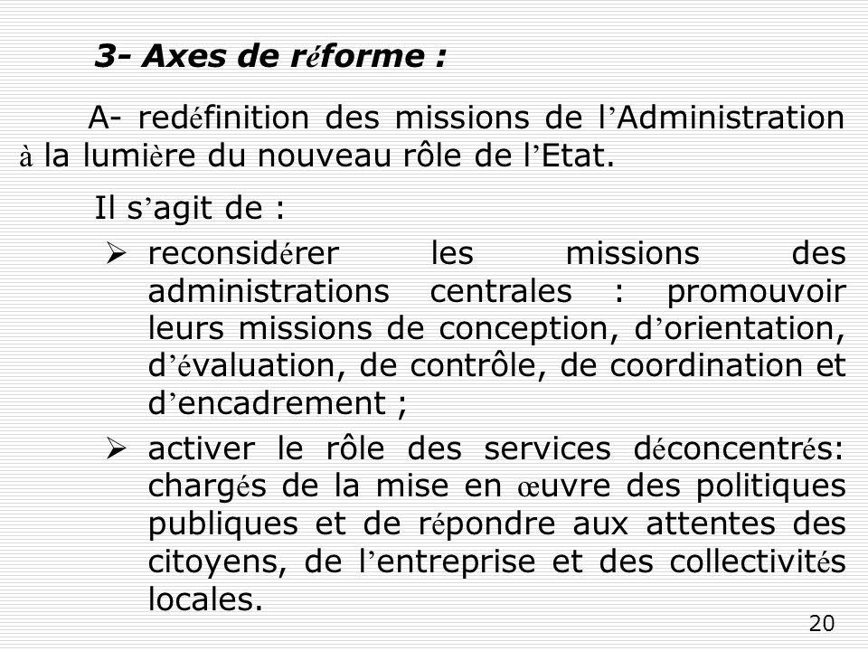 20 3- Axes de r é forme : A- red é finition des missions de l Administration à la lumi è re du nouveau rôle de l Etat.