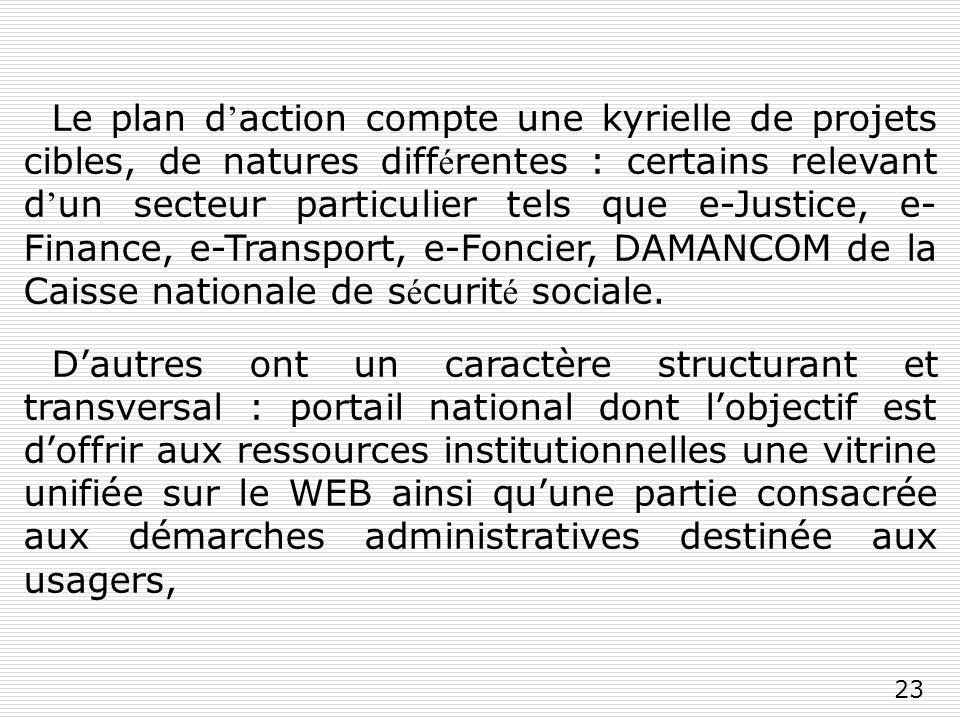 23 Le plan d action compte une kyrielle de projets cibles, de natures diff é rentes : certains relevant d un secteur particulier tels que e-Justice, e- Finance, e-Transport, e-Foncier, DAMANCOM de la Caisse nationale de s é curit é sociale.