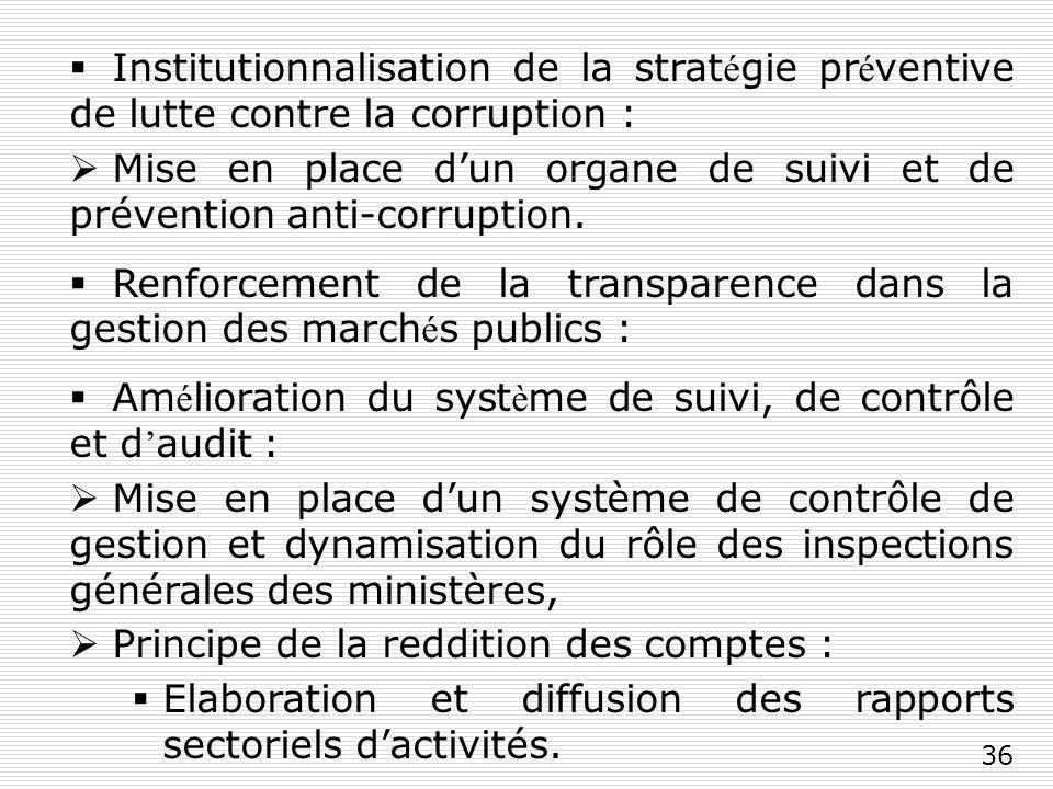 36 Institutionnalisation de la strat é gie pr é ventive de lutte contre la corruption : Mise en place dun organe de suivi et de prévention anti-corruption.