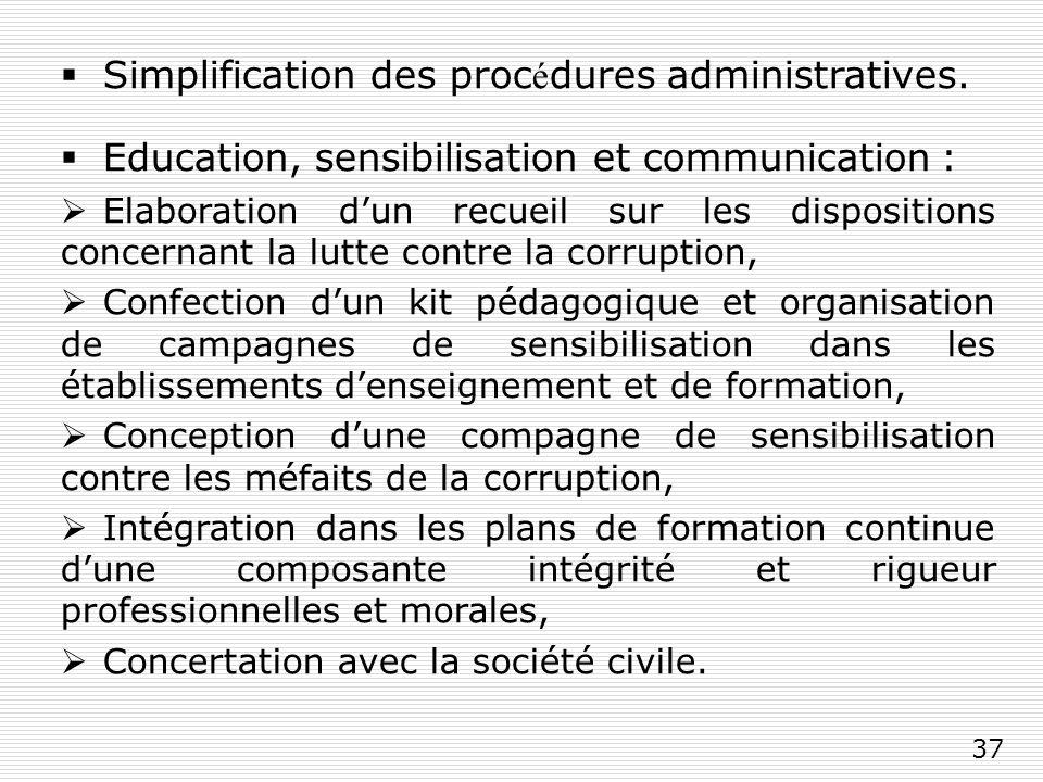 37 Simplification des proc é dures administratives.