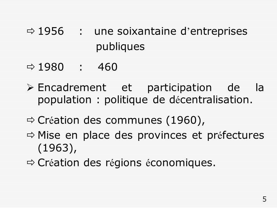 5 1956 : une soixantaine d entreprises publiques 1980 : 460 Encadrement et participation de la population : politique de d é centralisation.