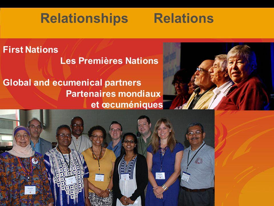 Relationships Relations First Nations Les Premières Nations Global and ecumenical partners Partenaires mondiaux et œcuméniques