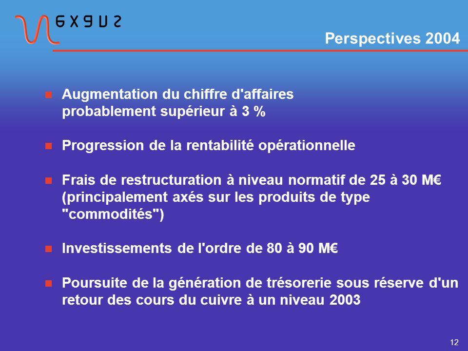 12 Augmentation du chiffre d affaires probablement supérieur à 3 % Progression de la rentabilité opérationnelle Frais de restructuration à niveau normatif de 25 à 30 M (principalement axés sur les produits de type commodités ) Investissements de l ordre de 80 à 90 M Poursuite de la génération de trésorerie sous réserve d un retour des cours du cuivre à un niveau 2003 Perspectives 2004