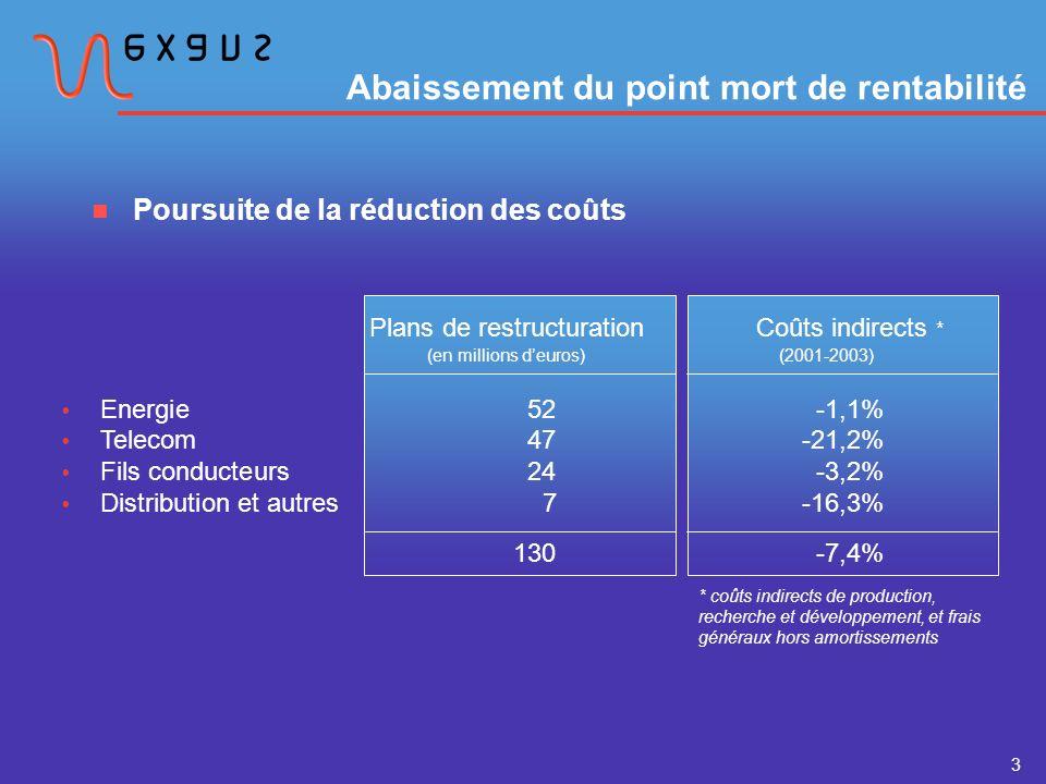 3 Abaissement du point mort de rentabilité Poursuite de la réduction des coûts Energie52-1,1% Telecom47-21,2% Fils conducteurs24-3,2% Distribution et autres7-16,3% 130 -7,4% Plans de restructuration Coûts indirects * (en millions deuros) (2001-2003) * coûts indirects de production, recherche et développement, et frais généraux hors amortissements
