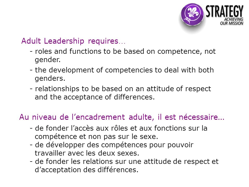 Adult Leadership requires … - roles and functions to be based on competence, not gender. - the development of competencies to deal with both genders.