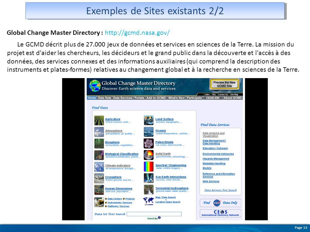 Page 13 Exemples de Sites existants 2/2 Global Change Master Directory : http://gcmd.nasa.gov/ Le GCMD décrit plus de 27.000 jeux de données et servic