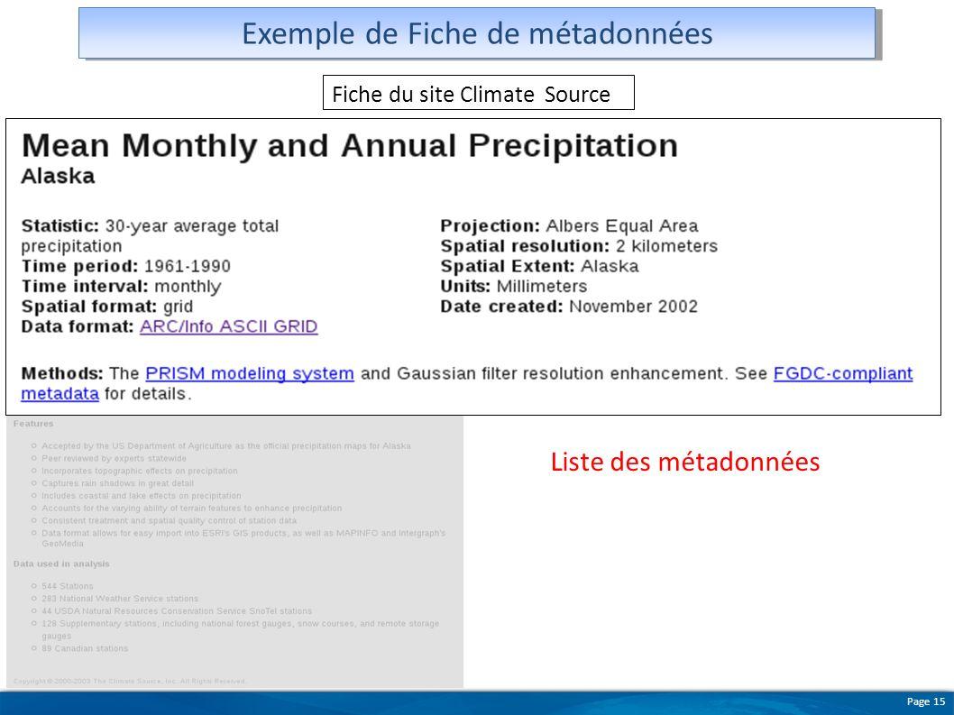 Page 15 Exemple de Fiche de métadonnées Figures illustrant les données Fiche du site Climate Source Liste des métadonnées