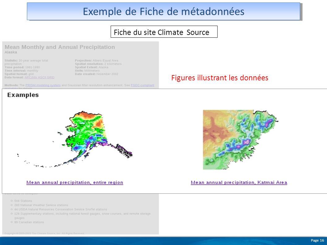 Page 16 Exemple de Fiche de métadonnées Figures illustrant les données Fiche du site Climate Source