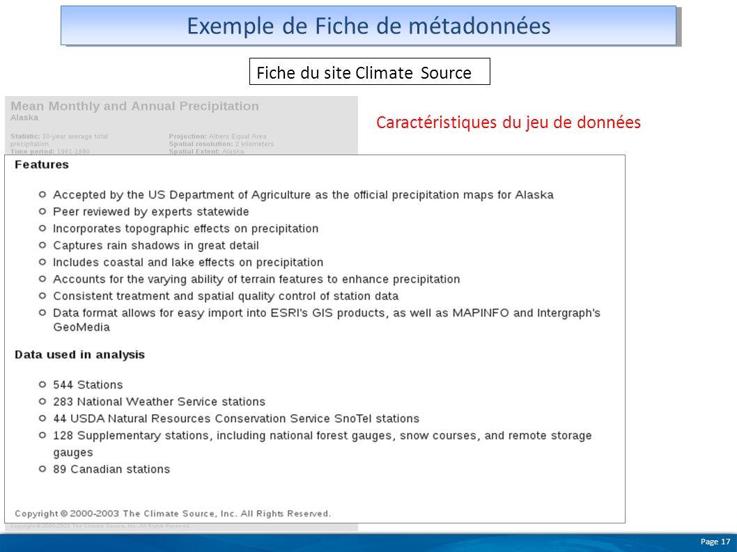 Page 17 Exemple de Fiche de métadonnées Fiche du site Climate Source Caractéristiques du jeu de données